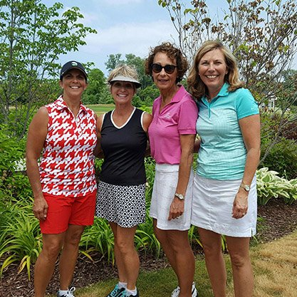 four women golfers who participated in the LEF fundraiser.