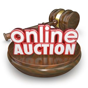 Online Auction 3d words wood block gavel closing bidding interne